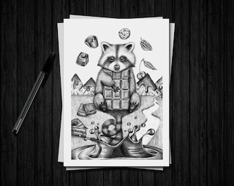 "Fine art limited edition - raccoon Illustration A5 and chocolate ""Raccoon"""