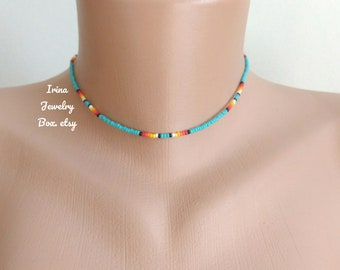 Turquoise beaded choker,Dainty Beaded choker,Boho choker unisex,Simple tiny beads necklace,Colorful Beaded necklace,Beadwork choker