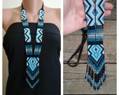 Blue seed bead necklace,Native American Style neckless,layering beads necklaces,Loom Beadwork necklace,Glass Seed Bead Loom Work Necklace