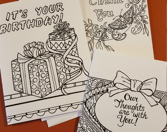 All Occasion Greeting Cards To Color/ Show Your Expressions!!