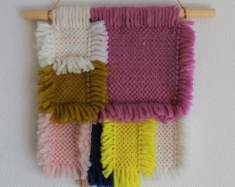 """Woven Wallhanging / Handwoven / Geometric Weaving / """"ORCHID"""""""
