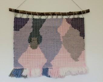 "Handwoven Tapestry Weaving Boho ""Aquarell"""