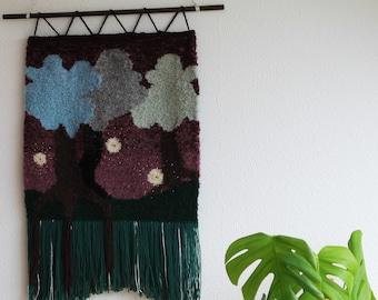 "Woven wallhanging / Woven art / Wall art / ""Enchanted Forest"" / ""Märchenwald"""