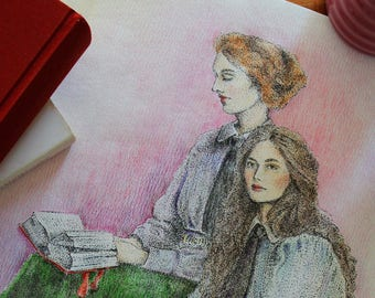 """Antique Painting /ORIGINAL / FRAMED / Fine Art / """"Two Sisters"""""""