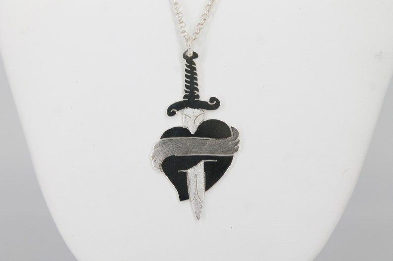 Old School Tattoo love friendship Heart pendant with dagger handmade in sterling silver customizable with engraving gift idea