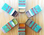 Lucky Lips - Pick 3 - Natural Organic Lip Balm - Hemp Lemon Balm, Vanilla Latte, Peppermint Chocolate, Lavender, Orange, Cinnamon Spice