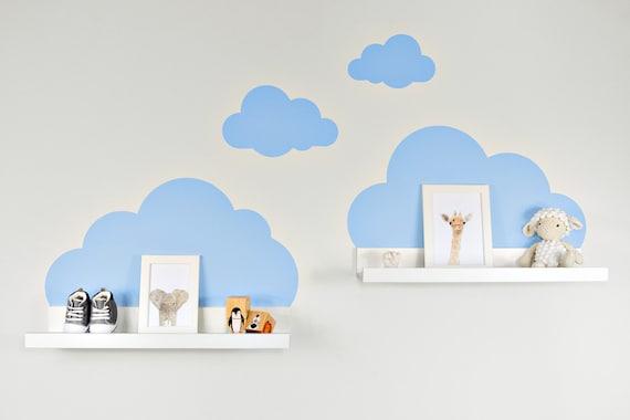 Wandtattoo Wolken In Blau Für Ikea Regalbrett Ribbamosslanda 55 Cm Bilderleiste Für Babyzimmer Kinderzimmer Aufkleber Für Wand Und Tapete