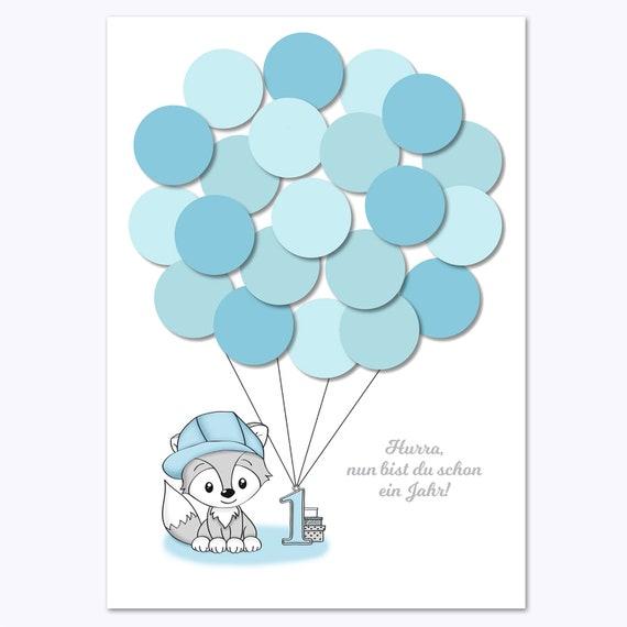 Erster Geburtstag 1 Geburtstag Geschenk Gastgeschenk Deko Andenken Idee Glückwünsche Erinnerungsstück Fuchs Junge Blau