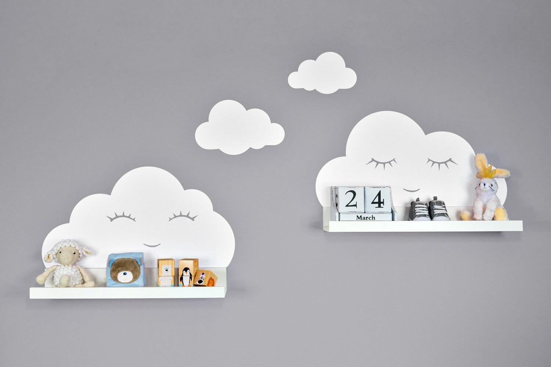 wandtattoo wolken wei mit augen f r ikea regalbrett etsy. Black Bedroom Furniture Sets. Home Design Ideas