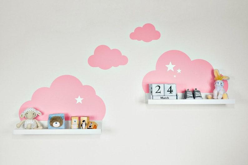 Babykamer Behang Sterren : Muur wolken met sterren voor ikea ribba mosslanda plank 55 cm etsy