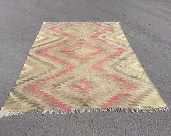 Vintage anatolian kilim area rug, turkish large area rugs, handwoven boho carpet, home decor, floor carpets, tapis