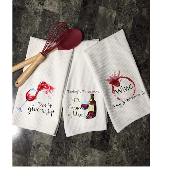 Funny Dish Towels Wine Kitchen Towels Funny Housewarming Gift Wedding Shower Gift Kitchen Decor