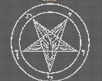 Hail Satan Worship Doom - cross stitch pattern, DMC, needlecraft