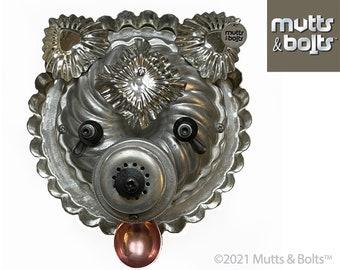 Metal Dog Sculpture/Pomeranian/Upcycled