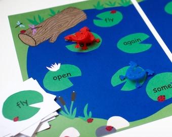 Printable Kindergarten Bump Game Board. Customizable Educational Game, Frog Unit