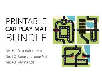 Car Play Mat Printable BUNDLE: Sets 1, 2 and 3. For Mini Toy Cars. Road Play Mat