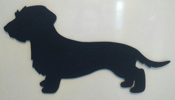 Memo Dachshund Long Hair Slate Silhouette Wood Paint Gift Etsy