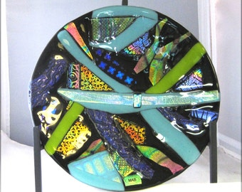 Fused glass plate, dichroic glass, home decor, glass art, art glass, table top display, handmade, decorative plate, sculpture, one of a kind