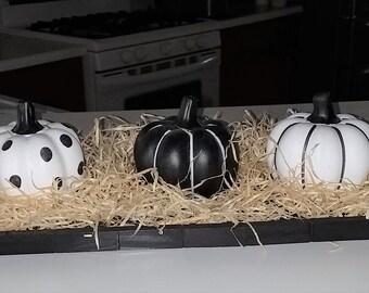 Pumpkins On A Tray Fall Decor - Orange, Black, or White Tray
