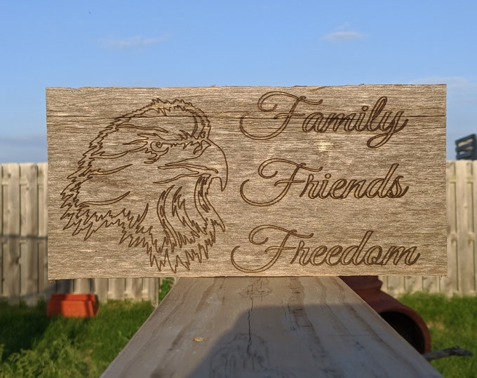 Family Friends and Freedom Eagle reclaimed wood Sign and Key Holder
