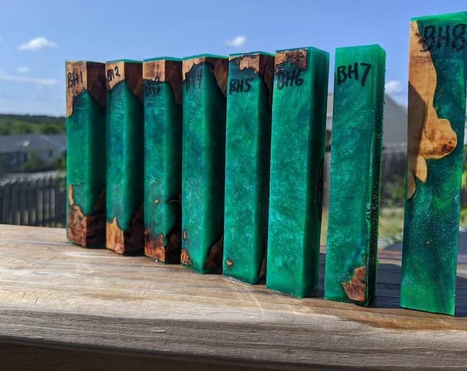 Hybrid Pen Blanks - Big Leaf Maple Jade Green