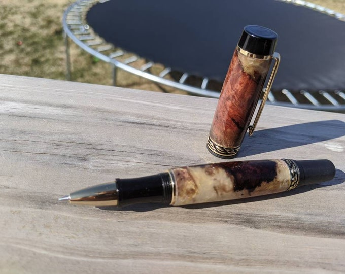 Rollerball Pen - Resin and Manzanita Burl Pen - Wood Pen