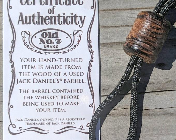 Jack Daniels Paracord Lanyard Bead for EDC, Knive, Keyring or Flashlight - Whiskey Barrel wood