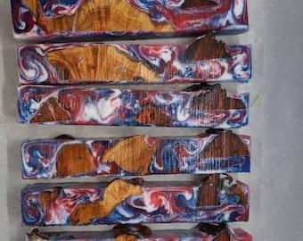 Hybrid Pen Blanks - Manzanita Burl Red White Blue