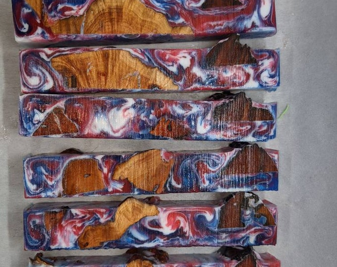 Hybrid Pen Blanks - Manzanita Burl Red White Blue