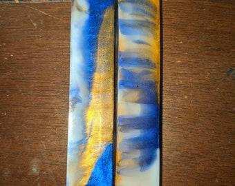 Pen Blank - Blue White Gold - Alumilite