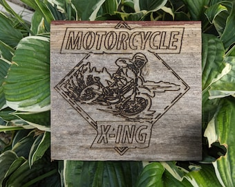 Reclaimed Wood Motorcycle Crossing Wood Sign