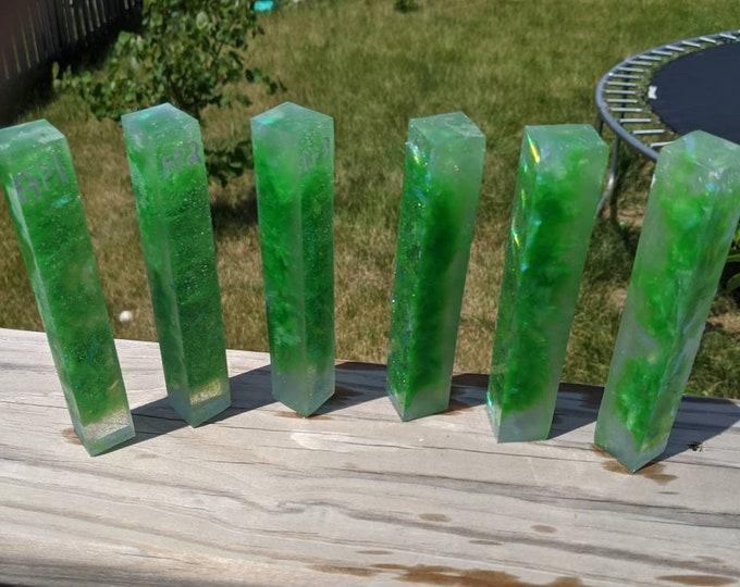 Pen Blank - Holographic Suspended Kiwi Green - Alumilite