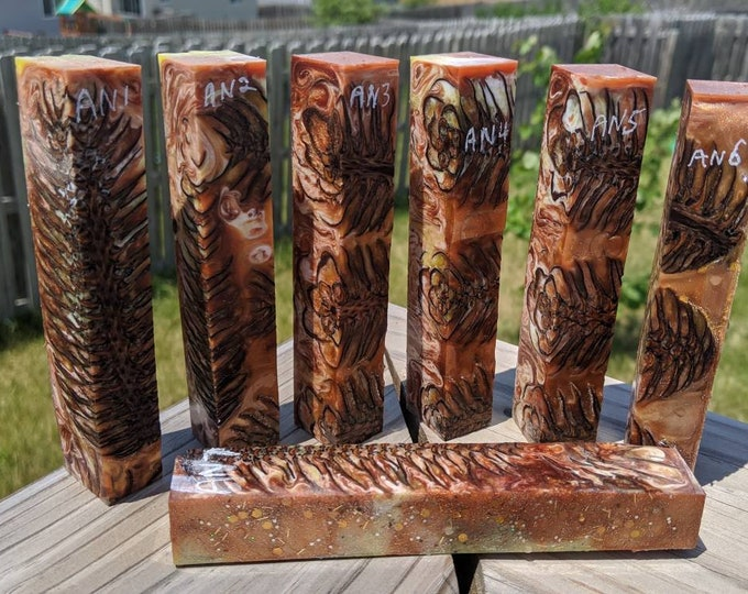 Hybrid Pen Blanks - Pine Cone - Copper Yellow White