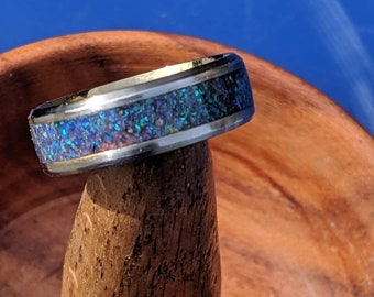 Opal Ring Wedding Band Blue Opal Inlay