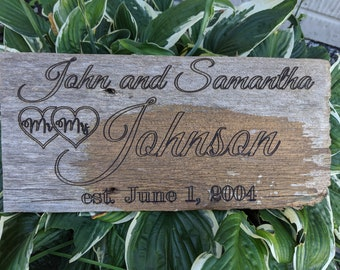 Personalized Wood Wedding Sign or Family Sign