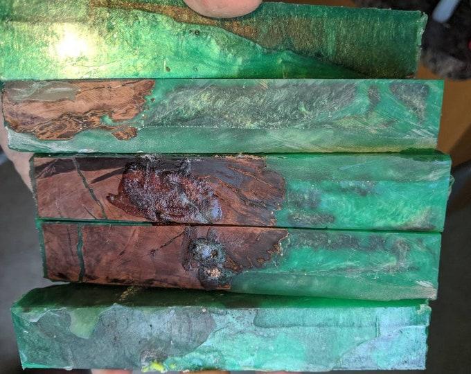 Hybrid Pen Blanks - Burl - Emerald Green