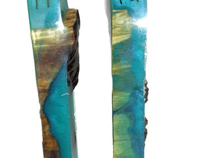Wood Pen Blank - Curly Cottonwood and Teal