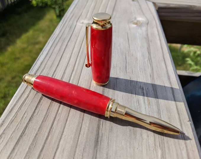 Rollerball Pen - Ruby Red - Handmade