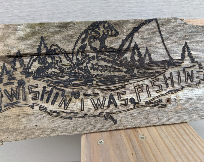 Reclaimed Wood Sign Wish'n I Was Fish'n Key Hey Holder
