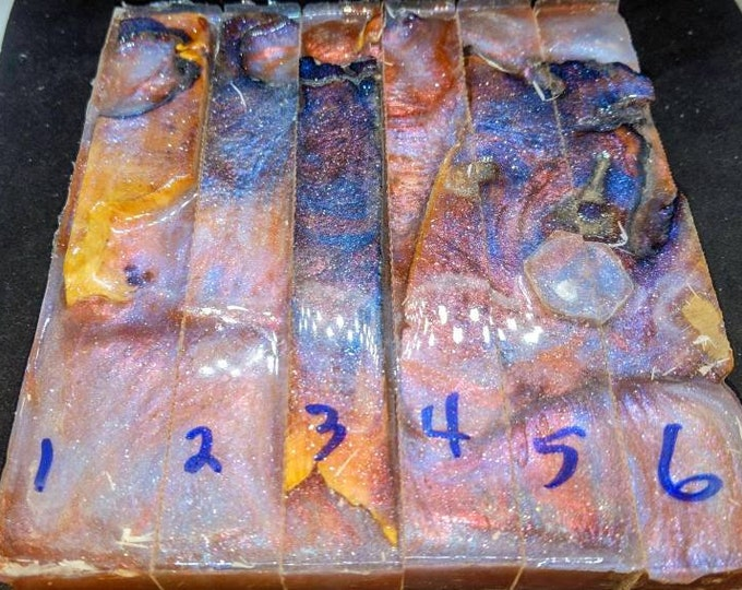 Hybrid Pen Blanks - Buckeye burl - 2 Chameleon colors + Blue Mother of Pearl