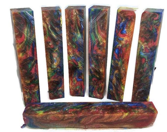Pen Blank - 6 Color Peacock - Alumilite