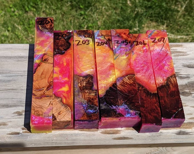 Hybrid Pen Blanks - Burl - Yellow Pearly Pink