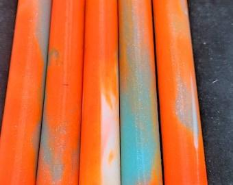 Alumilite Pen Blank - Glow in the dark - Orange Aqua White