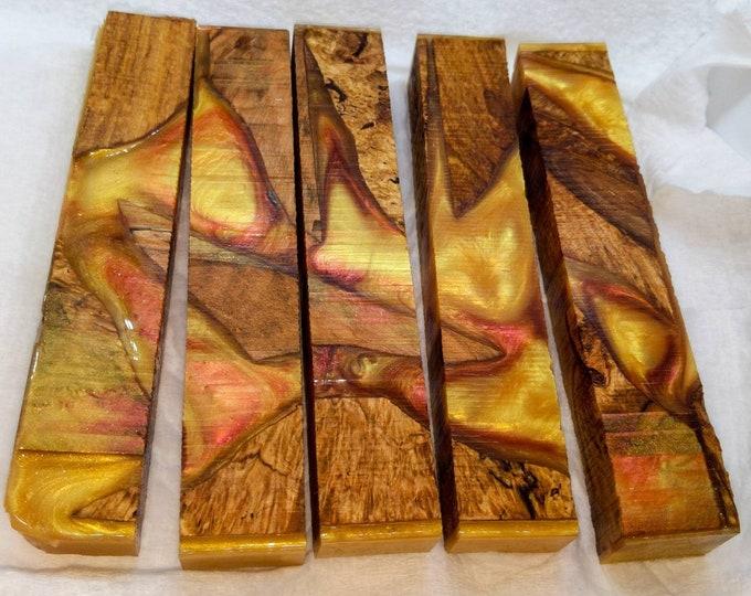 Hybrid Pen Blanks - Alumilite - Maple Burl Gold Fire Agate