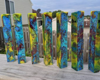 Pen Blank - Alumilite Peacock Colors