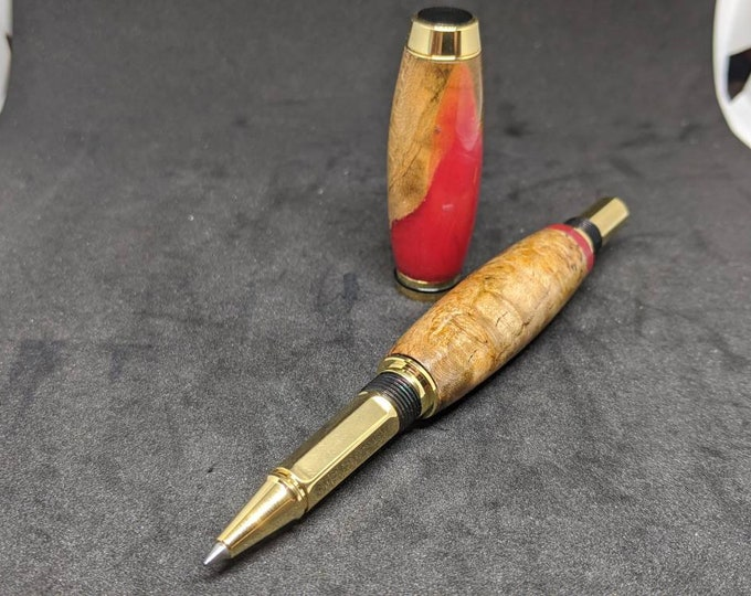 High End Rollerball Cherry Burl Hybrid Wood Pen