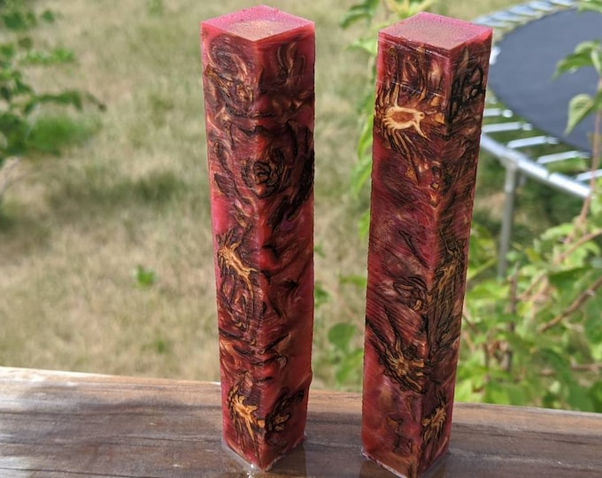 Hybrid Pen Blank - Small Pinecones - Red Gold Cerise