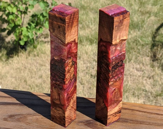 Double Hybrid Pen Blank - Stabilized Wasp Nest Red Coolibah Burl - Red Gold Cerise