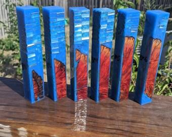 Hybrid Pen Blanks - Red Manzanita Burl Honeycomb- Blue Teal