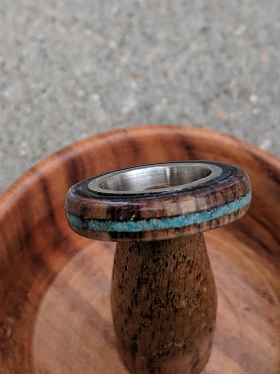 Wood Ring Turquoise Inlay Men's Ring Women's Ring Stainless Steel band